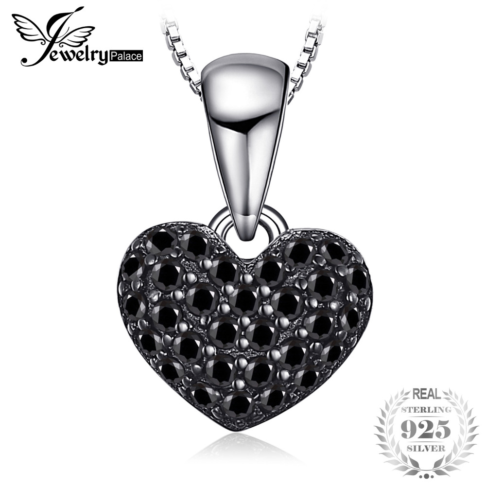 JewelryPalace Fesyen 0.28ct Natural Black Spinel Love Heart Pendants For Women Pepejal 925 Sterling-Silver-Jewelry Without Chain