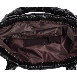 Image 5 - 2020 New Winter Women Space Cotton Handbags casual Ladies Bag Down Fashion Bright Shoulder Bag Female tote Bolsas sac a main