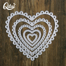 QITAI Metal Cutting Dies Scrapbooking Stencils Heart Shape DIY Cards Photo Album Decoration Embossing Die Cutter Template D70(China)