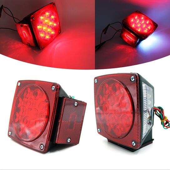 Trailer Verlichting LED Vierkante Rode Turn Stop Staart 2 st Paar ...
