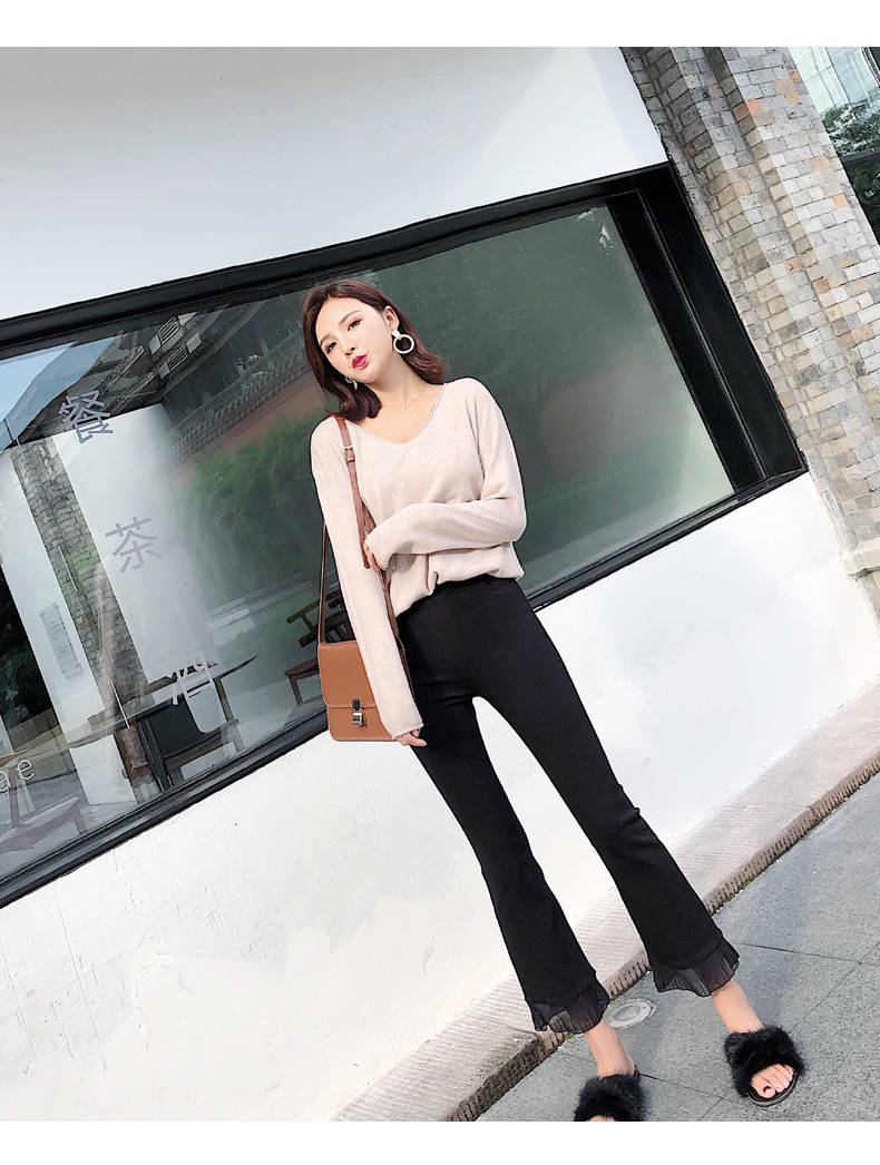 2019 Trousers Women High Waist Bell Bottom Metal Ring Flare Pants Wide Leg Pants Big Plus Size XL Black White Female Capris PP05 36