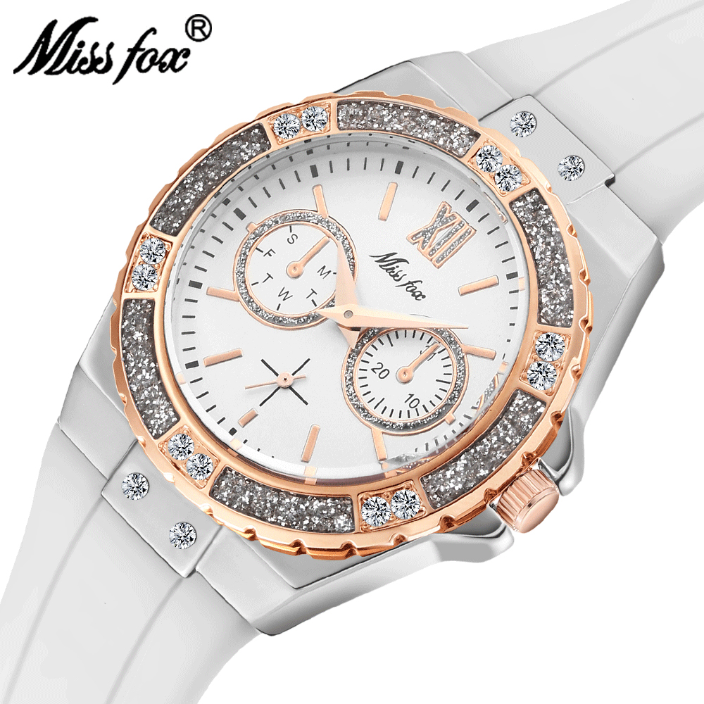 MISSFOX Watches Women Geneva Fashion Ladies Watch Luxury Diamond White Rubber Band Female Quartz Wristwatch Xfcs 2019 The New