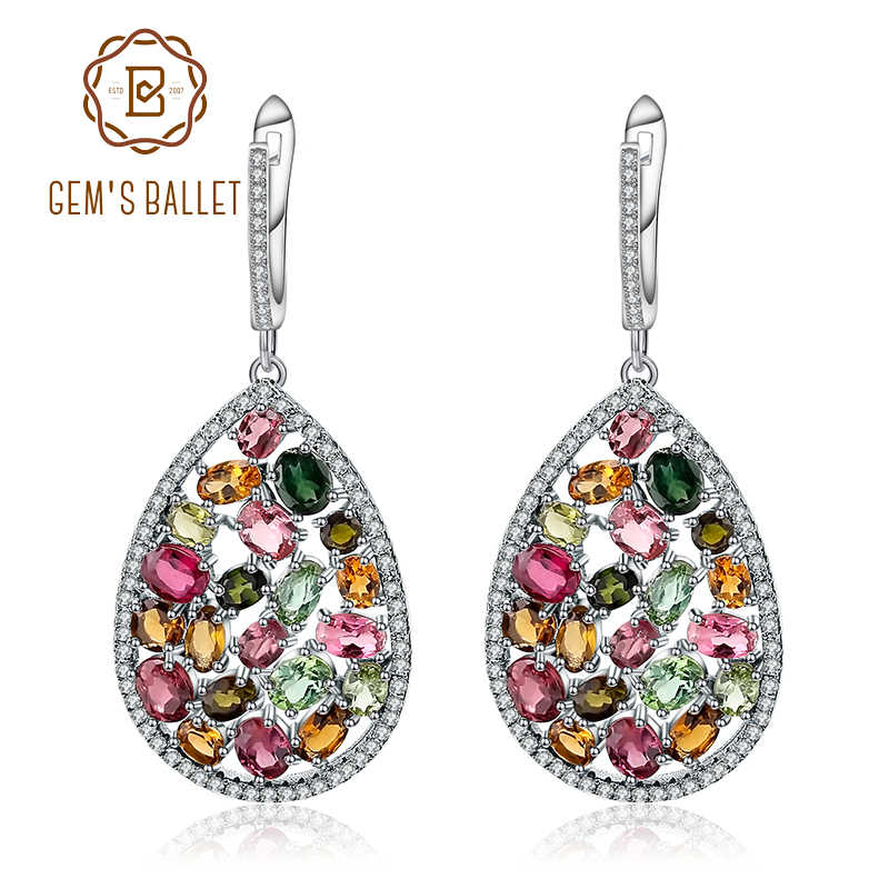 GEM'S BALLET 10.95Ct Colorful Natural Tourmaline Gemstone Drop Earrings 925 Sterling Silver Fashion Fine Jewelry For Women