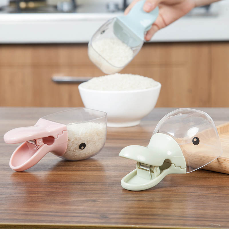 1 PC Multifunction Rice Measuring Cup Kitchen Gadgets Cereals Rice Bags Sealing Clip Water Spoon Duck Shape Plastic Rice Shovel