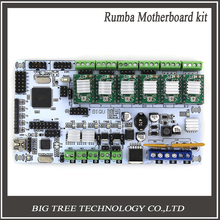 Free Shipping 3D Printer Start Kits Mother Board BIQU Rumba Board With 6pcs A4988 Stepper Driver 6pcs Heatsink
