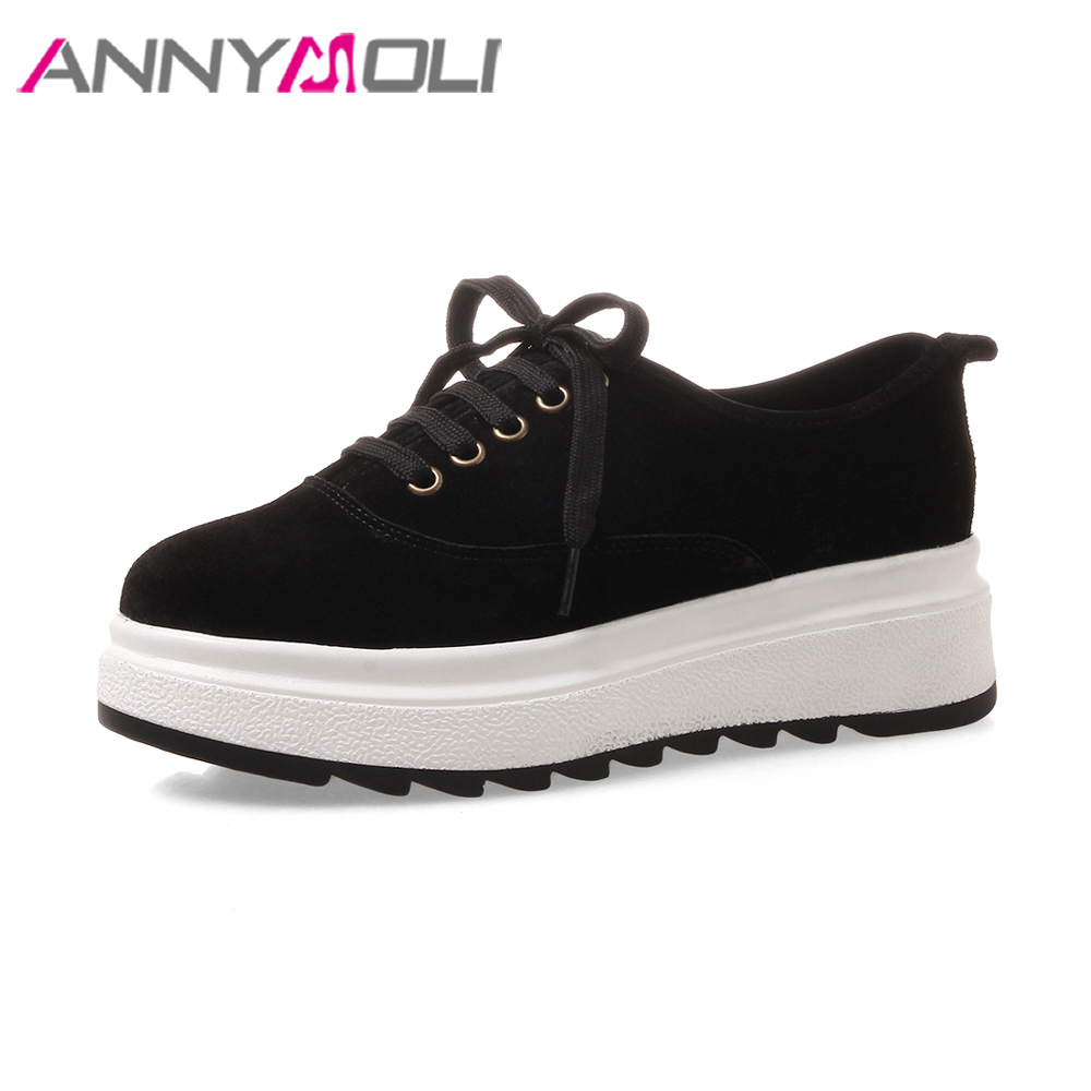 ANNYMOLI Genuine Leather Shoes Women Creepers Flat Platform Lace Up Sneakers Round Toe Cow Suede Shoes 2018 Spring Oxford Shoes nayiduyun women genuine leather wedge high heel pumps platform creepers round toe slip on casual shoes boots wedge sneakers