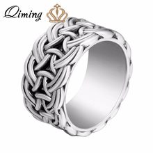 QIMING Norse Viking Men Ring Scandinavian Norse Jewelry Punk Style Silver Big Rings Vintage Men Jewelry Accessories(Hong Kong,China)