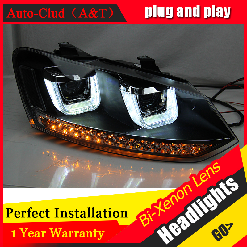 Auto Clud Car Styling 2009-2015 for VW Polo Headlights New Polo LED Headlight Polo drl Lens Double Beam H7 HID Xenon free shipping vland factory auto car styling for ford escorts fries headlight led 2015 2016 headlamp with hid xenon