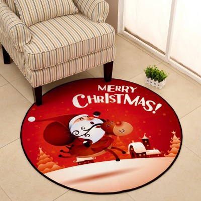 Christmas Gift Round Carpet Mat Christmas Decorative Round Rug Simple Style Round Carpet Kids Rug for Bedroom Baby Crawling Mat