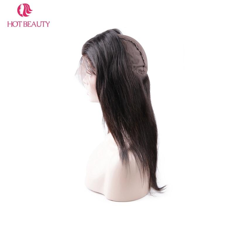 Chaude Beauté Cheveux Cheveux Raides Péruvien 360 Dentelle Frontale - Cheveux humains (noir) - Photo 6