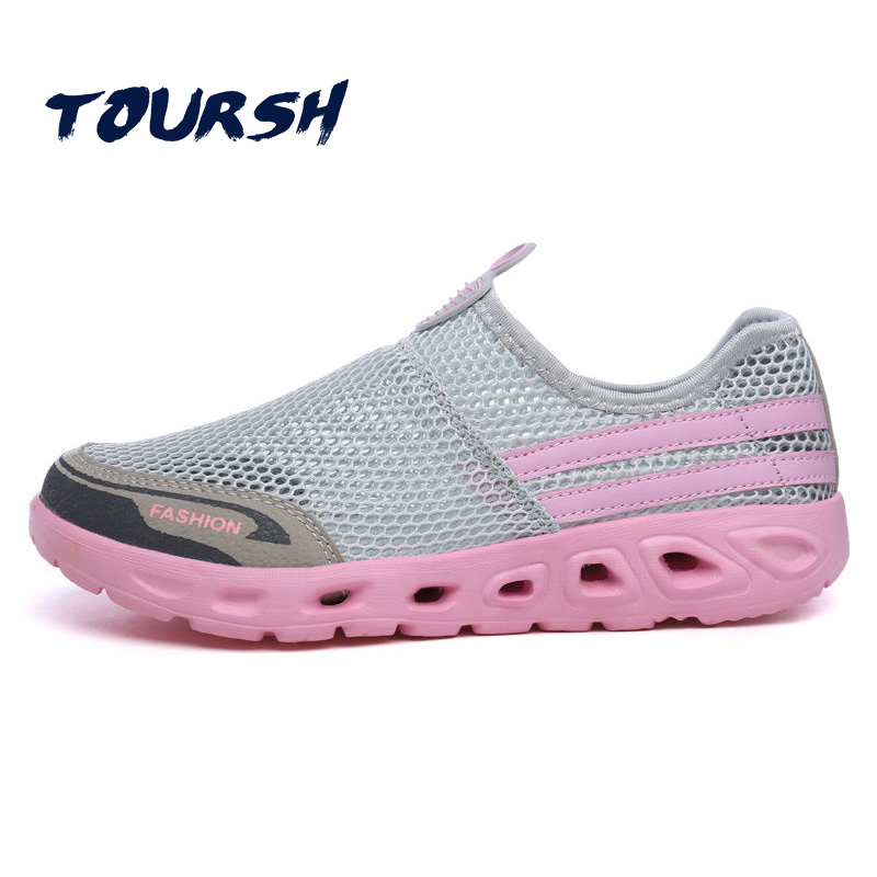 TOURSH 2018 Summer Women Shoes Light Sneakers Breathable Mesh Beach Shoes Female Cheap Casual Outdoor Lady Walking Flats Shoes casual women sandals 2017 summer shoes mixed color mesh breathable garden shoes outdoor mules