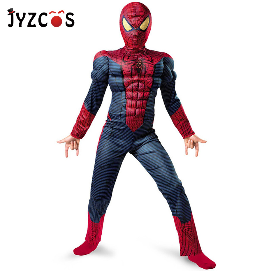 JYZCOS Kids Boys Muscular Spiderman Costume with Mask Purim Halloween Carnival Costume Party Cosplay Outfits for Children