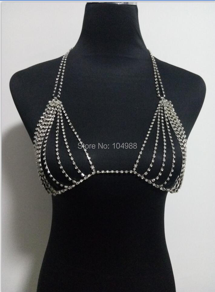Women Fashion Gold Rhinestone Chains Body Jewelry Sexy Rhinestone Bra Chains Jewelry 3 Colors B762