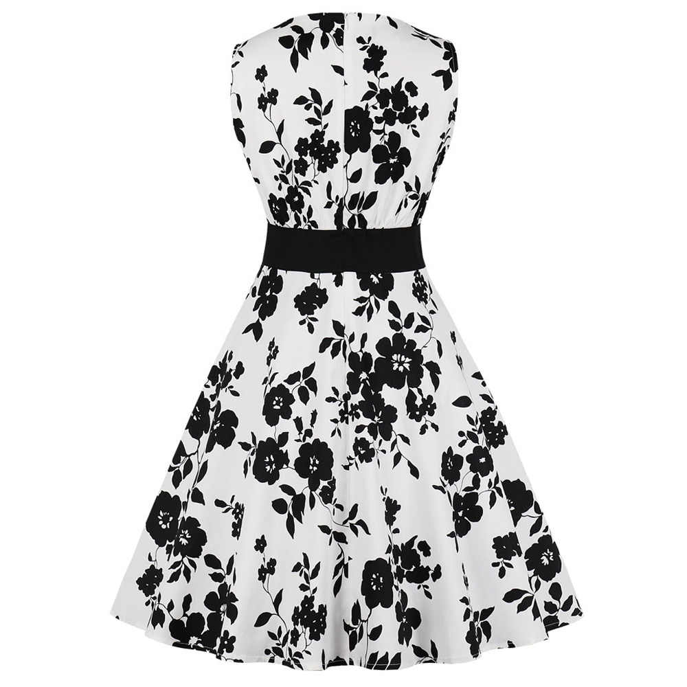 Wanita Musim Panas Gambar Bunga Hepburn 50 S 60 S Gaun Vintage Retro Ayunan Tanpa Lengan Pinup Pakaian Lipit Midi Vestidos