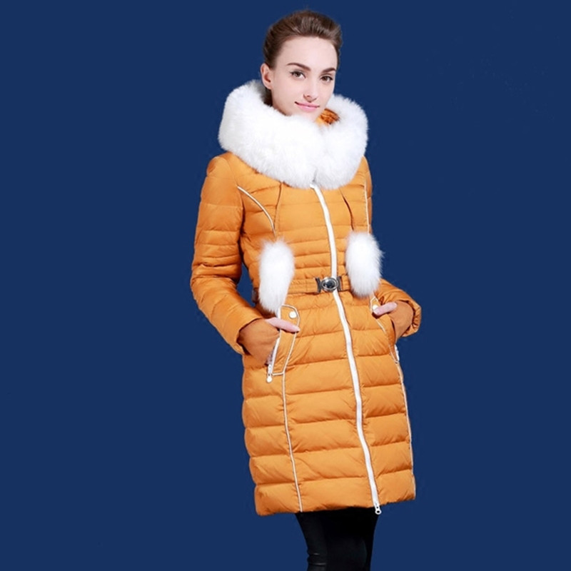 Winter   down   jacket for women European and USA white fox fur collar white duck   down     coats   with a hooded plus size s-2XL B514