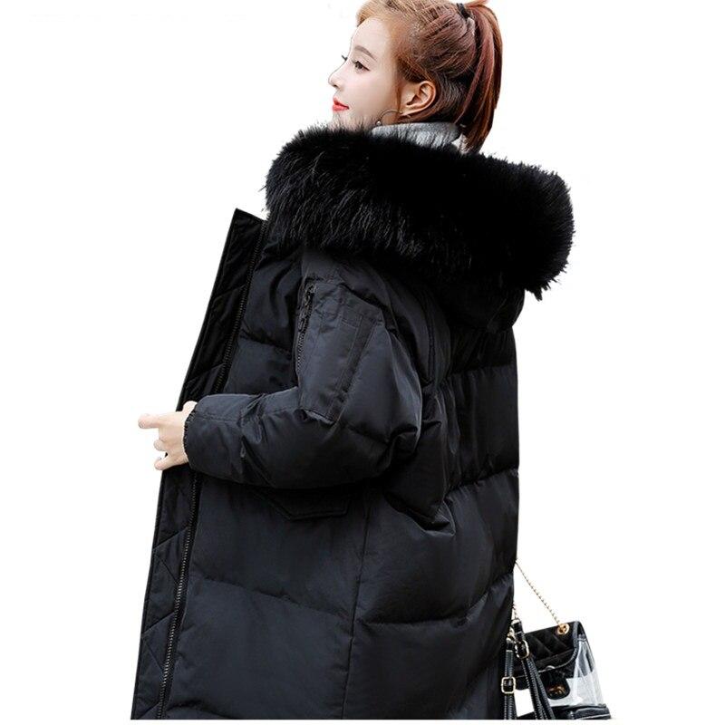 Women Winter Warm Down Cotton Outwear Loose Parka Fur Hood Long Coat Jacket