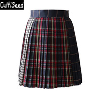 Preppy Style Color Plaid Pleated Skirts Clothing Female Vintage Elegant High Waist Patchwork Skirts Lady Party Skirts