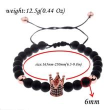 Men Crown Black and Natural Stone Bead 6MM Bracelets