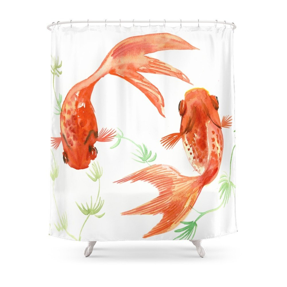 Koi Fish Feng Shui Goldfish Art Two Shower Curtain Polyester Fabric