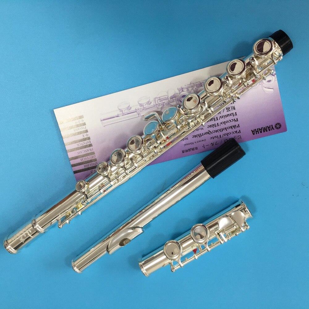 Хит продаж Японии флейта YFL 471 16 отверстия Посеребренная Поперечный Flauta обтюратор C Ключ с E ключ музыкальный инструмент Dizi