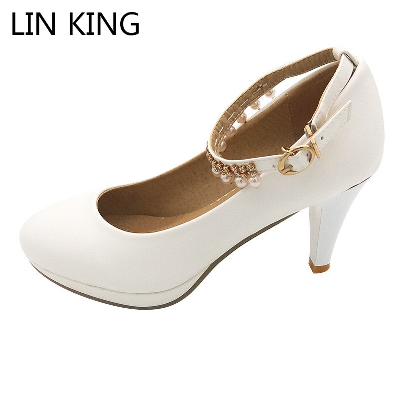 LIN KING Square Heel String Bead Women Pumps Slim Pointed Toe Pu Leather High Heel Shoes Big Size Platform Party Wedding Shoes smoby детская горка king size цвет красный