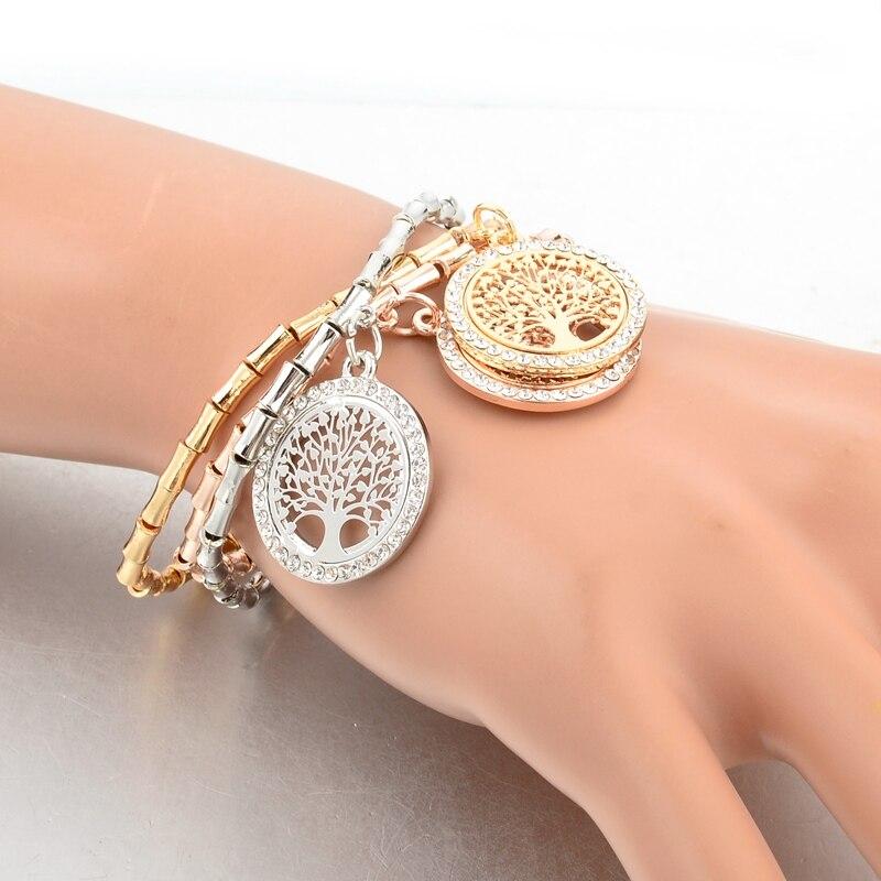 LongWay 3Pcs / Lot Gold Color Chain Crystal Bracelets and Bangles - Նորաձև զարդեր - Լուսանկար 5