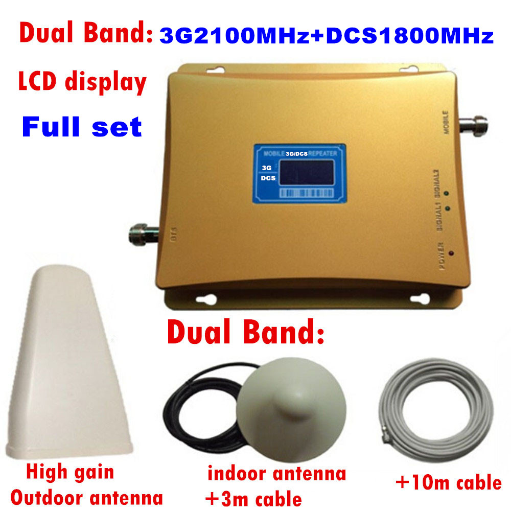 LCD Display 2G 3G 4G Mobile Signal Booster DCS 1800mhz 3G WCDMA UMTS 2100mhz Cellphone Repeater 65dB Dual Band Celluar Amplifier