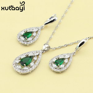 925 Silver Women's Health Fashion Water Drop Jewelry Set ,Green Imitated Emerald White Crystal Ring Size /7/8/9/10 Made In China