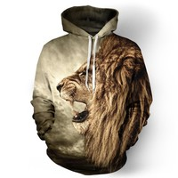 Brand 3D Hoodies Lion Printed Men Women Sweatshirts Hooded Tracksuits Fashion Casual Pullover Drop Ship 6XL Streetwear Male Coat
