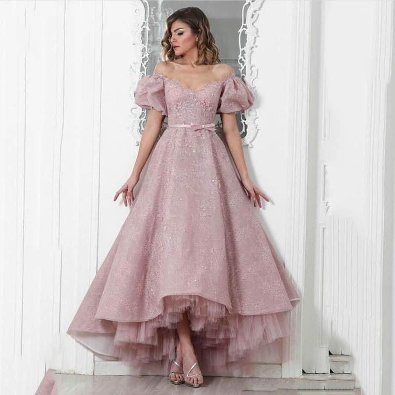 2019 rosa Dame Abendkleid Weg Von der schulter Bodenlangen Abendkleider Lange High-Low Party Kleid
