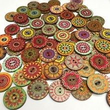100/Pcs 15mm/20mm/25mm New Mixed Wood Buttons Vintage Colorful Pattern Scrapbooking Sewing Craft Handmade Clothes Decor