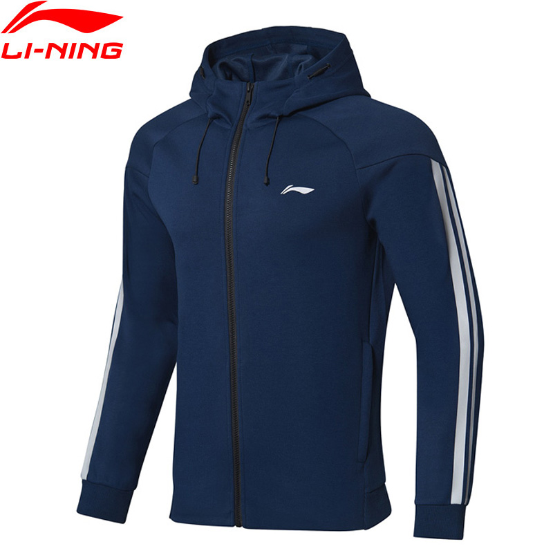 Li Ning Men Training Series Hoodie Regular Fit 63 Polyester 37 Spandex Comfort LiNing Fitness Sports