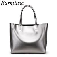 Burminsa Women Genuine Leather Handbags Large Shopper Tote Bag Female Big Shoulder Messenger Bag Silver Gold Black Blue Red 2019