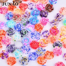 JUNAO 12mm Mix Color Crystal Flower Rhinestones Cabochon Resin Stones Non  Sewing Crystal Applique Flatback Strass Cabochon 9143fe066fde
