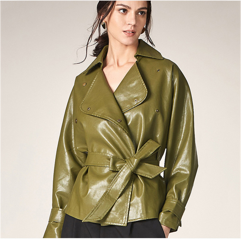 faux   leather   coat women XS-2XL plus size black khaki UP coat autumn winter lapel long sleeve fashion faux   leather   jacket LR376