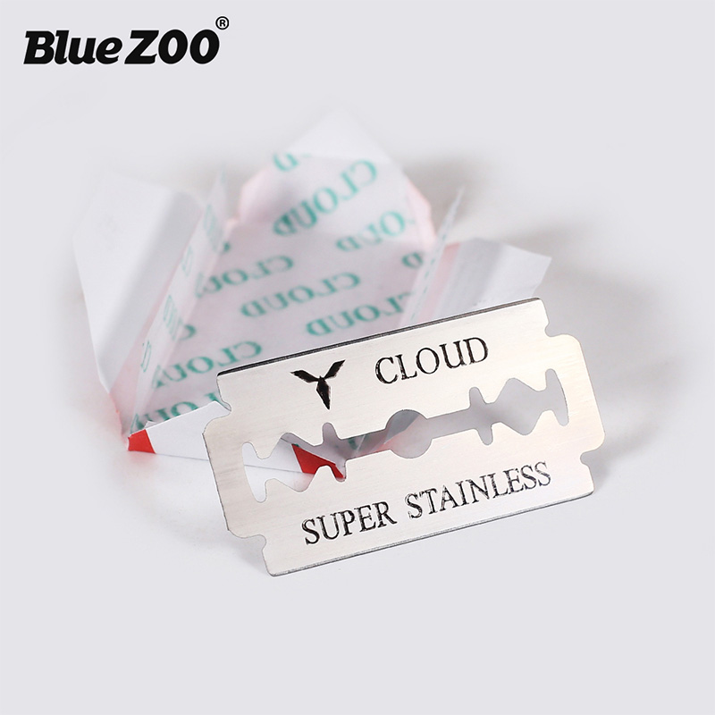 Blue Zoo 10Pcs/Pack Razor Blades Stainless Steel Safety Razor Blades To Shave Blade To Razor For Men Barber Double Edge Safety
