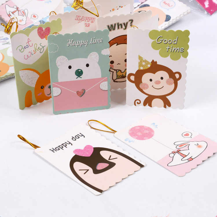 160pcs/lot Cartoon animal Birthday Greeting Cards Blank New Year Greeting Postcard Creative Mini Cards Christmas Card