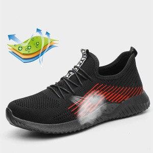 Image 5 - JACKSHIBO Atmungsaktiver Sicherheits Arbeit Schuhe Für Männer Männlichen Stahl Kappe Kappe Stiefel Bau Schuhe Sicherheit Stiefel Arbeit Anti Zerschlagung