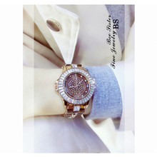 New Imported Quartz Movement Ladies Watch Brown Round  Rhinestone Dial Female Alloy Bracelet Full Crystal