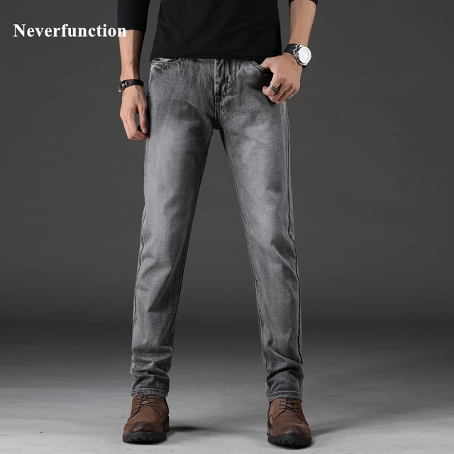 Hombres vintage humo gris Slim fit elástico Straight Jeans moda estilo  clásico sólido algodón masculino pantalones 5a7ae9414506