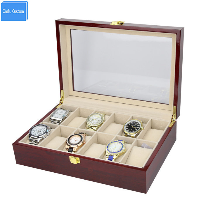 Luxury High Grade Elegant 12 Slots Mens& Womens Wood Glossy Lacquer Watch Box Jewelry Collection Display Drop Shipping Supply watchcase storage luxury 22 slots 2 layer wood glossy lacquer watch box jewelry collection display drop shipping supply