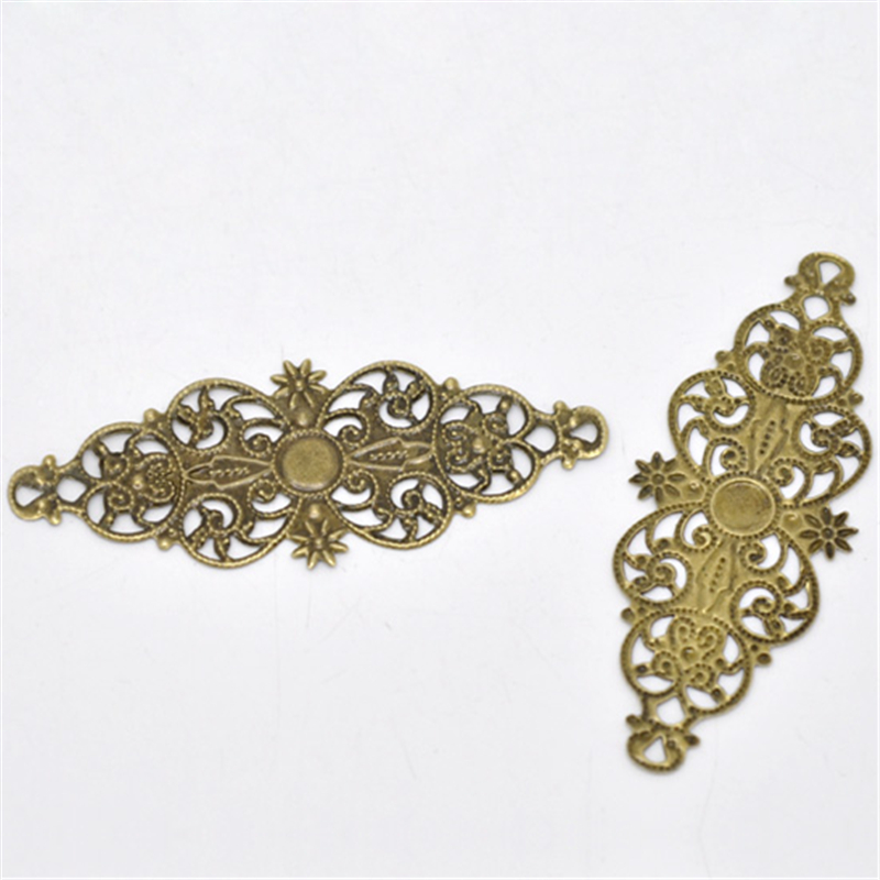 8SEASONS 50 Bronze Tone Filigree Flower Wrap Connector 6.1x2.4cm (B13809),