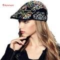 Kenmont Brand Spring Autumn Women Visors Newsboy Cap Ivy Peak Driving Sun Bohemia Print Casquette Cabbie Hat Contrast Color 2364