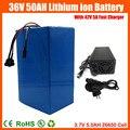 Rechargeable 1500 w 36 v Ebike batterie 36 v 50AH Au Lithium ion scooter Utilisation de la batterie 3.7 v 5.0AH 26650 cellules avec 50A BMS 42 v 5A chargeur