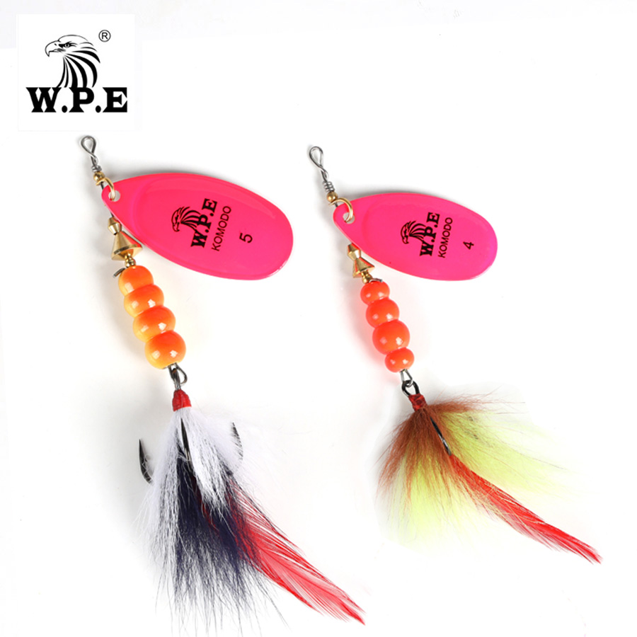 W.P.E Spinner Lure 1pcs 4#/5# 14g/22g Spoon Fishing Lure Metal Fishing Tackle Feather Bait Artificial Lure Multicolor Hard Lure