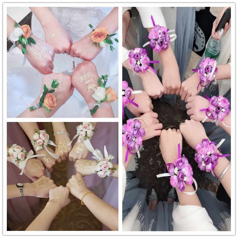 Wedding Decoration Team Bride To Be Tattoo Sticker Artificial Wrist Flower Bridal Shower Bachelorette Party Hen Night Diy Decor