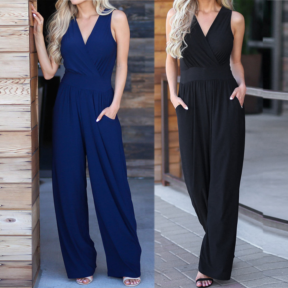 Office Overalls For Women Sexy Backless Rompers Casual V-Neck Solid Long  Elastic Waist Female Jumpsuit Combinaison Femme#ss