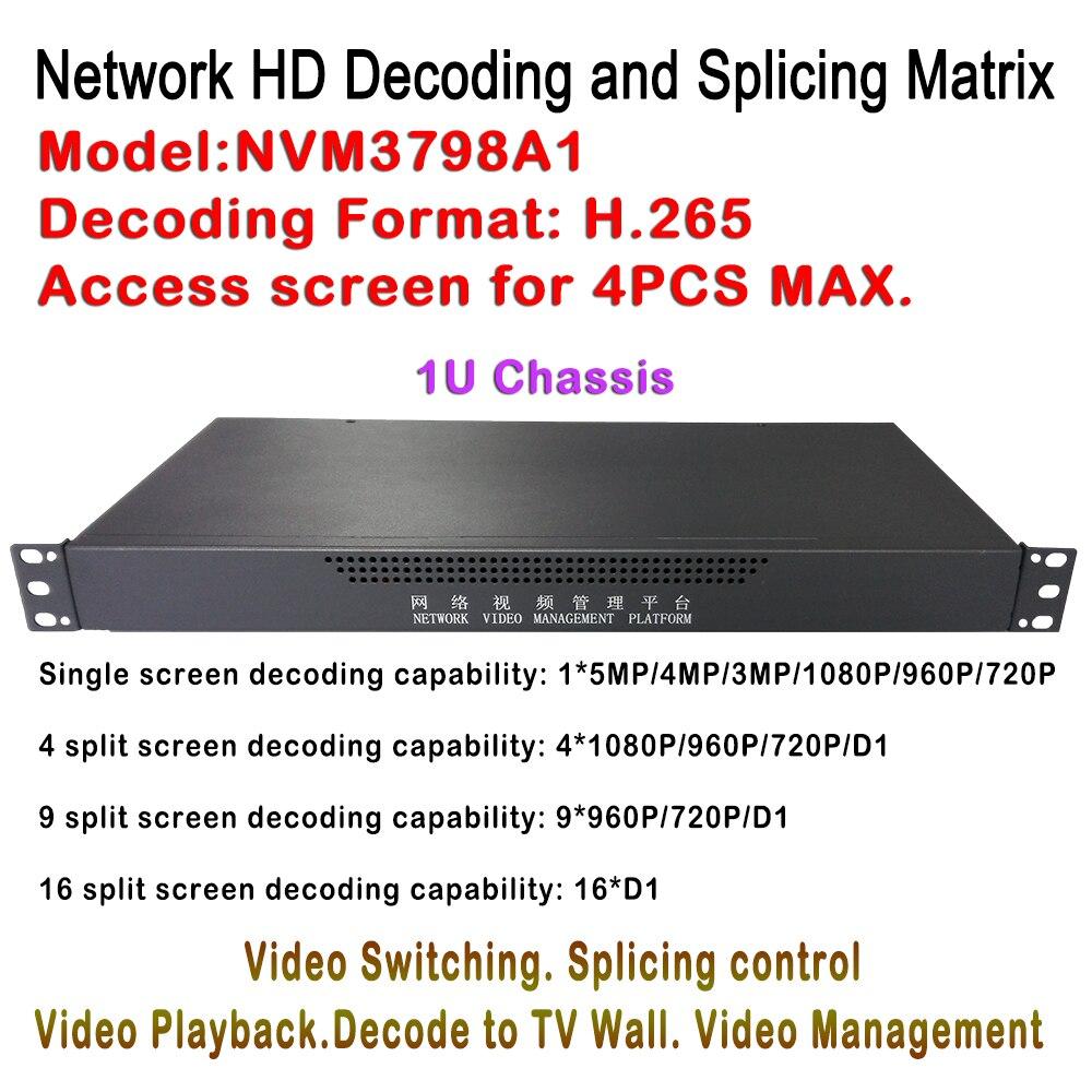 1U случае HD IP видео декодер H.265 5MP/4MP/3MP/2MP IP Камера ONVIF для 4ch Мониторы дисплей, разделение 1/4/9/16 Экран