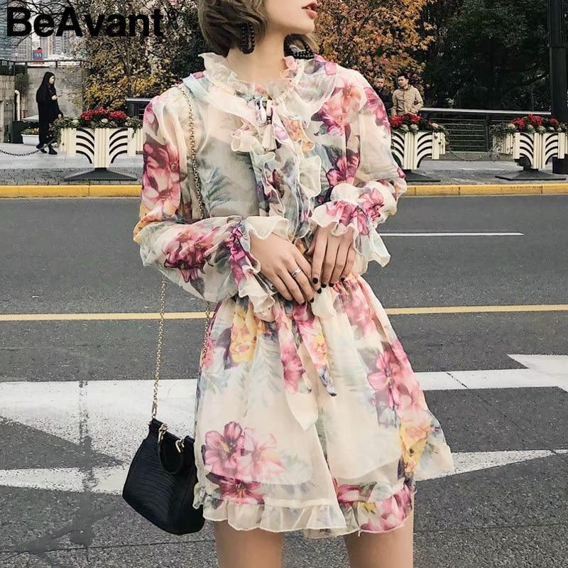 BeAvant Vintage ruffle floral women jumpsuit rompers High waist print summer beach playsuit Long sleeve casual loose overalls