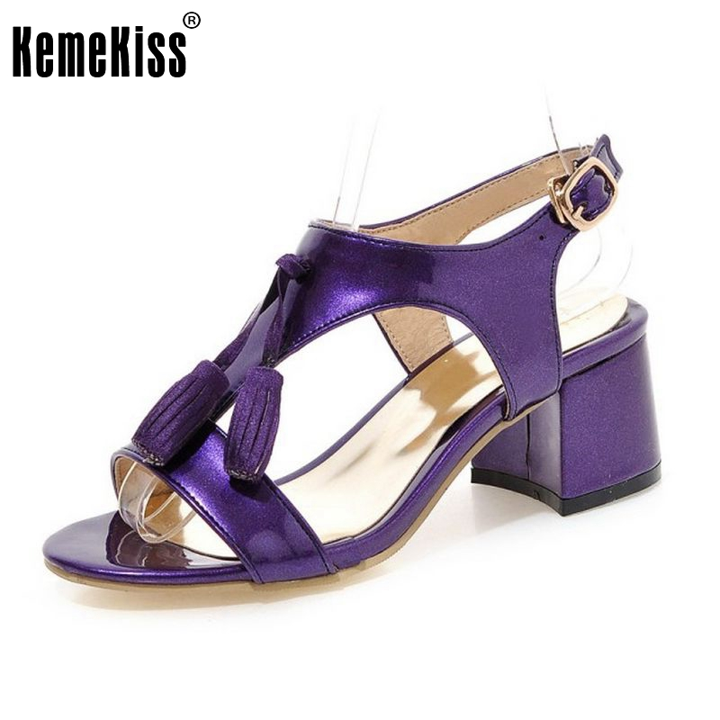 Woman Square Heel Shoes Women Fashion Tassel High Heel Sandals Female Buckle Strap Footwear Heeled Shoes Size 31-43 PA00814 xiaying smile summer woman sandals fashion women pumps square cover heel buckle strap fashion casual concise student women shoes